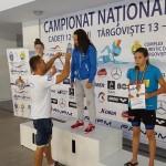 Festivitatea de premiere 100 m spate categoria fete 13 ani: locul 1 - Samira Ahmad (ATM), locul 2 Carina trusca (STM), locul 3 Bianca Naidin (ATB)